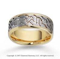 14k Two Tone Gold Grand Pattern Carved Wedding Band