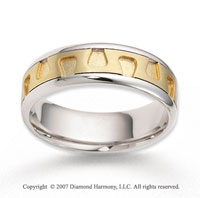 14k Two Tone Gold Unique Harmony Carved Wedding Band