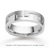 14k White Gold Grand Design Fine Carved Wedding Band