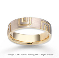 14k Two Tone Gold Fine Deco Stylish Carved Wedding Band