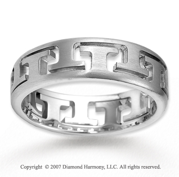14k White Gold Perfect Love Stylish Carved Wedding Band
