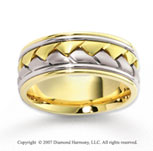 14k Two Tone Gold Forever Strong Carved Wedding Band