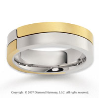 14k Two Tone Gold Modern Sleek Carved Wedding Band
