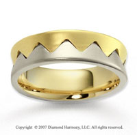 14k Two Tone Gold Modern Stylish Carved Wedding Band