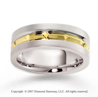 14k Two Tone Gold Fashionable Facet Carved Wedding Band