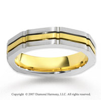 14k Two Tone Gold Forever True Carved Wedding Band