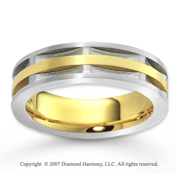 14k Two Tone Gold Modern Harmony Carved Wedding Band