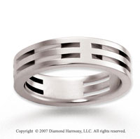 14k White Gold Fashionable Sleek Carved Wedding Band