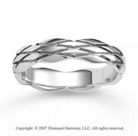 14k White Gold Grand Fashion Classy Carved Wedding Band