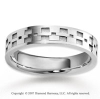 14k White Gold Great Fashion Fine Carved Wedding Band