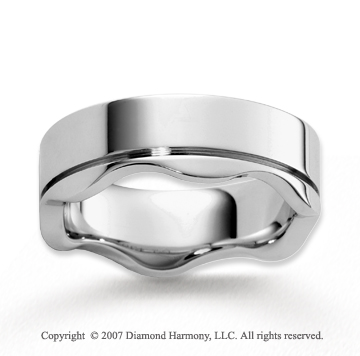 14k White Gold Ultra Sleek Stylish Carved Wedding Band