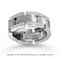 14k White Gold Stylish Great Fine Carved Wedding Band