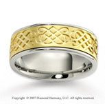14k Two Tone Gold Royal True Love Carved Wedding Band
