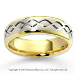 14k Two Tone Gold Stylish Romance Carved Wedding Band