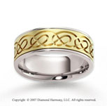 14k Two Tone Gold Fine Romance Carved Wedding Band