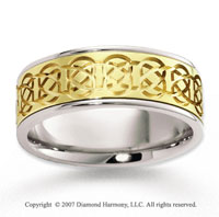 14k Two Tone Gold Elegant Romance Carved Wedding Band
