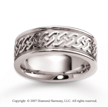 14k White Gold Elegant Style Design Carved Wedding Band