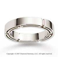 14k White Gold Smooth Modern Fine Carved Wedding Band