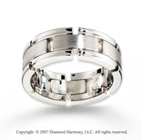 14k White Gold Elegant Smooth Fine Carved Wedding Band