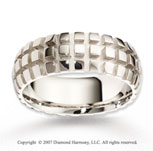 14k White Gold Fine Stylish Squares Carved Wedding Band