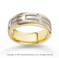 14k Two Tone Gold Unique Love Fine Carved Wedding Band