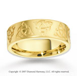 14k Yellow Gold Unique Stylish Carved Wedding Band