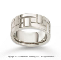 14k White Gold Elegant Design Fine Carved Wedding Band