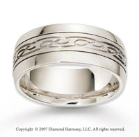 14k White Gold Great Sleek Elegant Carved Wedding Band