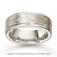 14k White Gold Unique Modern Fine Carved Wedding Band