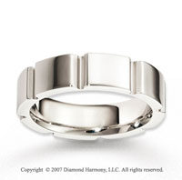 14k White Gold Great Smooth Elegant Carved Wedding Band