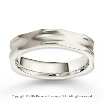 14k White Gold Unique Modern Classy Carved Wedding Band