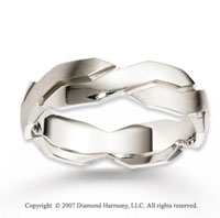 14k White Gold Modern Unique Class Carved Wedding Band