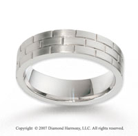 14k White Gold Stylish Brick Design Carved Wedding Band
