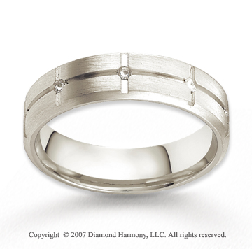 14k White Gold Elegant Groove Fine Carved Wedding Band