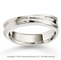 14k White Gold Perfe Carat Harmony Fine Carved Wedding Band