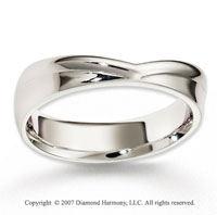 14k White Gold Perfe Carat Love Smooth Carved Wedding Band