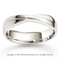 14k White Gold Smooth Harmony Fine Carved Wedding Band