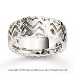 14k White Gold Stylish Hearts Fine Carved Wedding Band