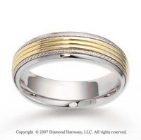 14k Two Tone Gold Milgrain Embrace Carved Wedding Band