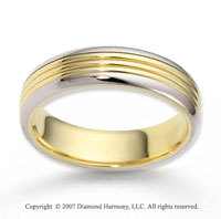 14k Two Tone Gold Smooth Embrace Carved Wedding Band