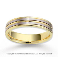 14k Two Tone Gold Fine Elegance Carved Wedding Band