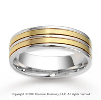14k Two Tone Gold Sleek Elegance Carved Wedding Band