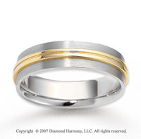 14k Two Tone Gold Smooth Elegance Carved Wedding Band