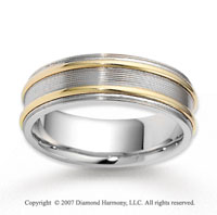 14k Two Tone Gold Forever Embrace Carved Wedding Band