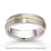 14k Two Tone Gold Smooth Elegant Carved Wedding Band