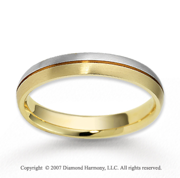 14k Two Tone Gold Finest Harmony Sleek Wedding Band