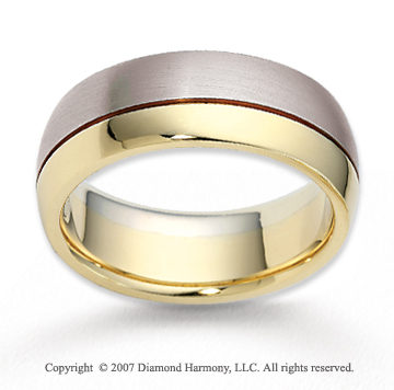 14k Two Tone Gold Eternal Love Carved Wedding Band