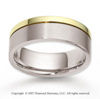 14k Two Tone Gold Smooth Stylish Carved Wedding Band