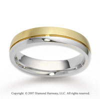 14k Two Tone Gold Smooth Finest Carved Wedding Band