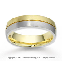 14k Two Tone Gold Sleek Elegant Carved Wedding Band